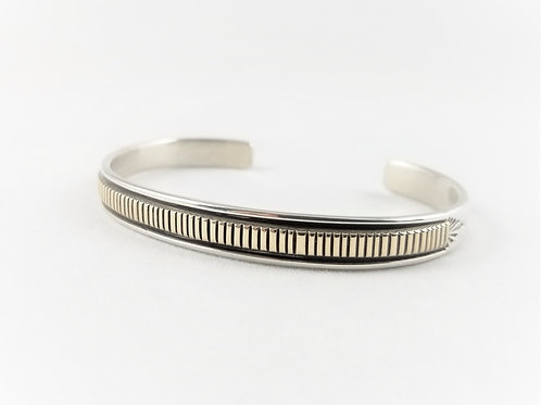 Hand Crafted Navajo Sterling Silver & 14k Wrist Cuff
