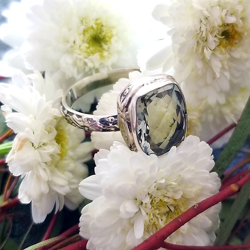 Vintage Green Amethyst Sterling Ring