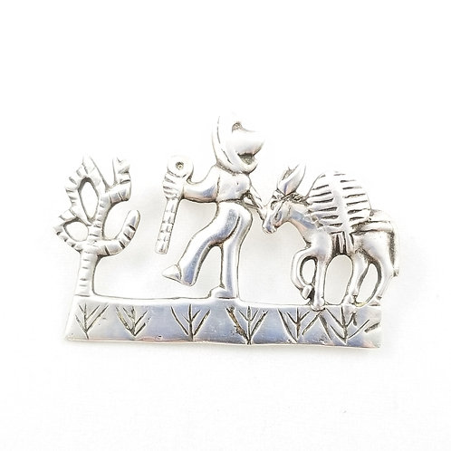 Hand Crafted Sterling Scene Brooch