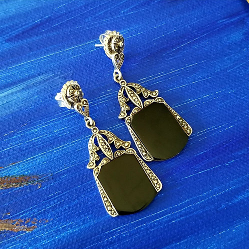 Onyx & Marcasite Sterling Earrings