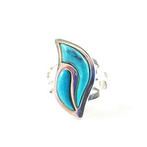 Sterling Silver Turquoise Flame Ring