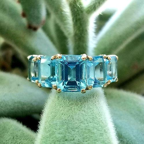 14k Swiss Blue Topaz Five Stone Ring