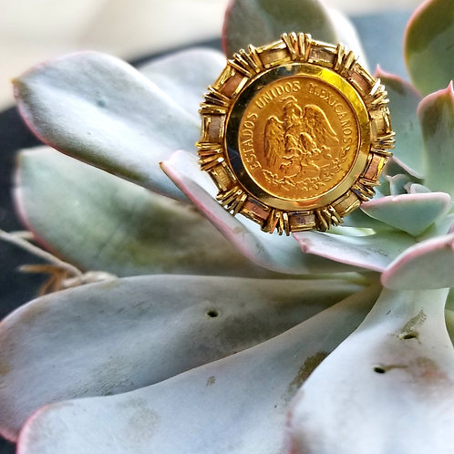 Custom 14k & 22k Mexican Coin Ring