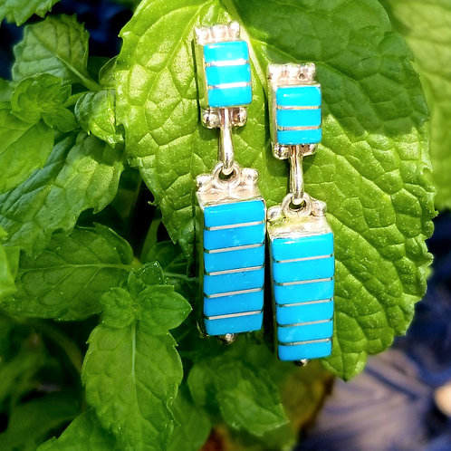 Sterling Zuni Hand Crafted Turquoise Earrings