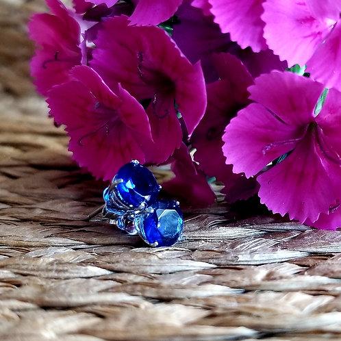 Sterling Lab Created Sapphire Stud Earrings