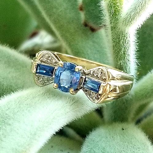 Vintage 10k Sapphire & Diamond Bow Ring
