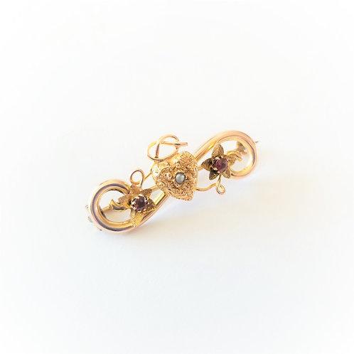 9k Victorian Ruby & Pearl Brooch