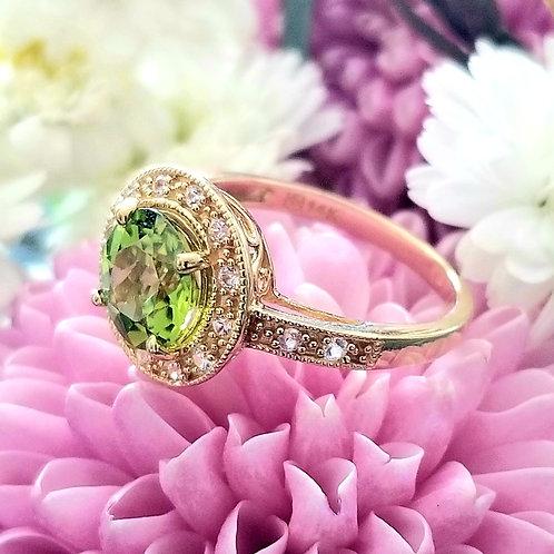 14k Peridot & Diamond Halo Ring