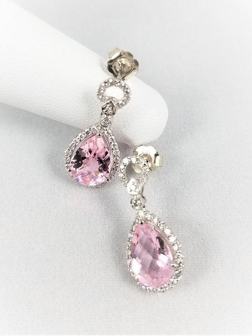 18k Pink Tourmaline & Diamond Earrings