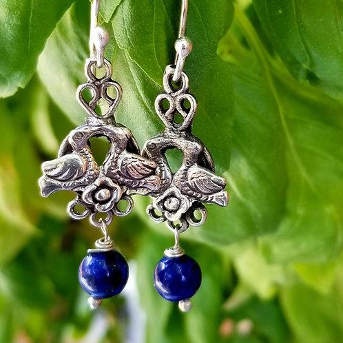 Brand New Lapis & Sterling Frida Inspired Earrings