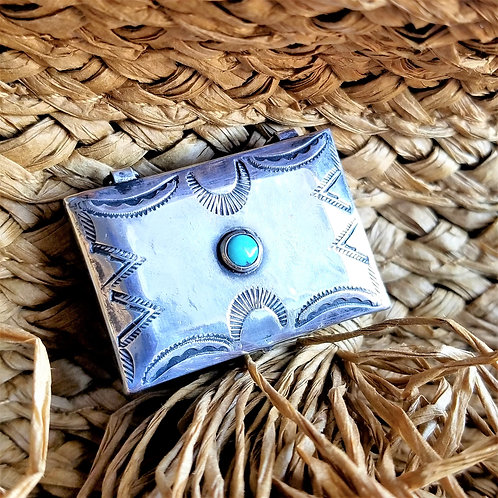 Vintage Sterling Silver & Turquoise Navajo Stamp Box