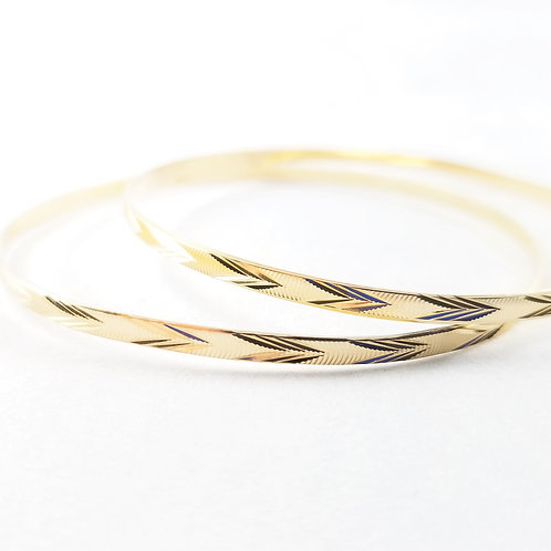 Pair of 14k Etched Bangles