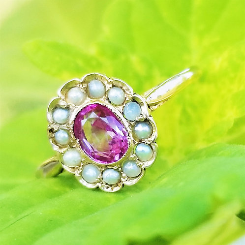 Victorian Pink Sapphire and Seed Pearl Ring