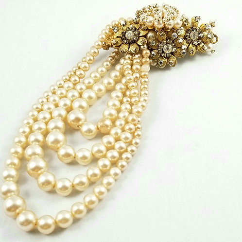 Miriam Haskell Large Faux Pearl & Crystal Brooch