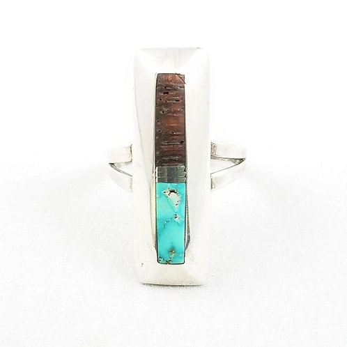 Unique Slender Turquoise and Wood Ring