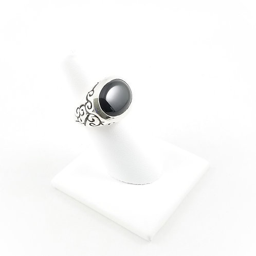 Hefty Sterling Silver Black Onyx Ring