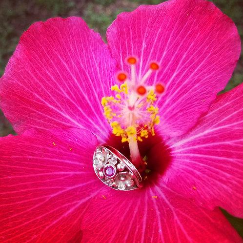 Antique 9k Ruby Flower Ring