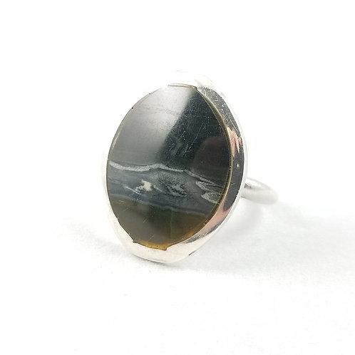 Vintage Sterling Banded Agate Ring