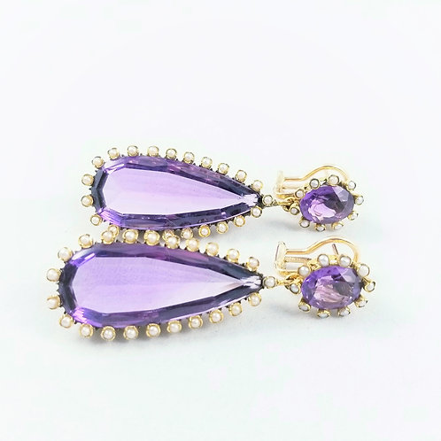 Victorian Amethyst and Seed Pearl Earrings