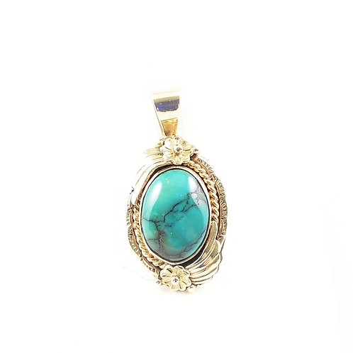 14k Turquoise Pendant by Chief Dodge