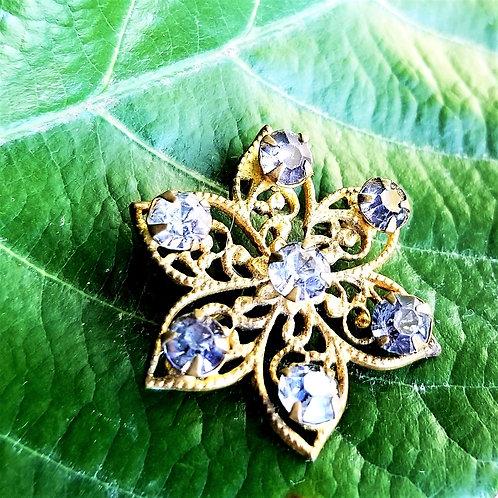 Art Deco 10k Filigree Glass Flower Star Burst Pin