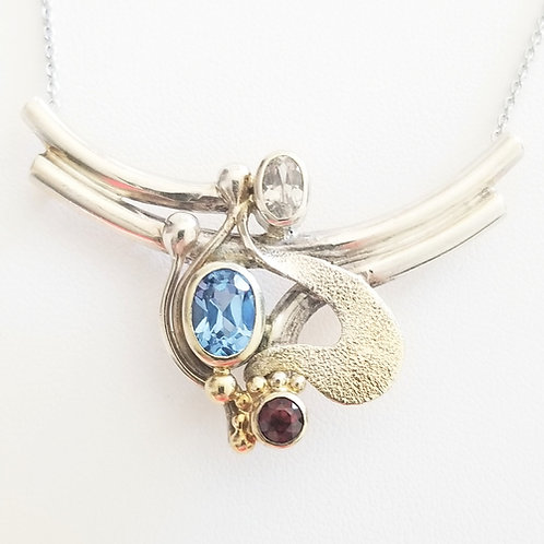 Artisan Topaz & Garnet Sterling Necklace