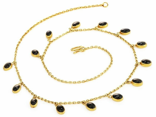 14k Persian Black Sapphire Fringe Necklace