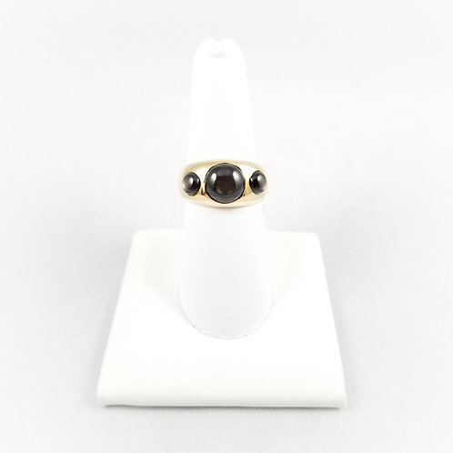 14k Natural Black Star Sapphire Ring