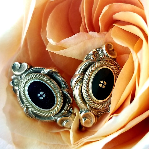 Victorian Gold over Silver Black Onyx Earrings