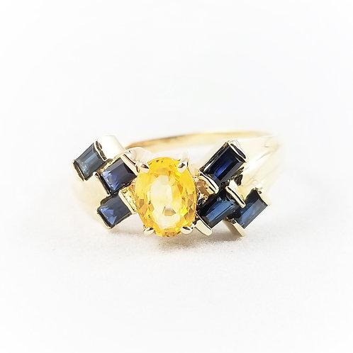 14k Geometric Design Sapphire & Citrine Ring
