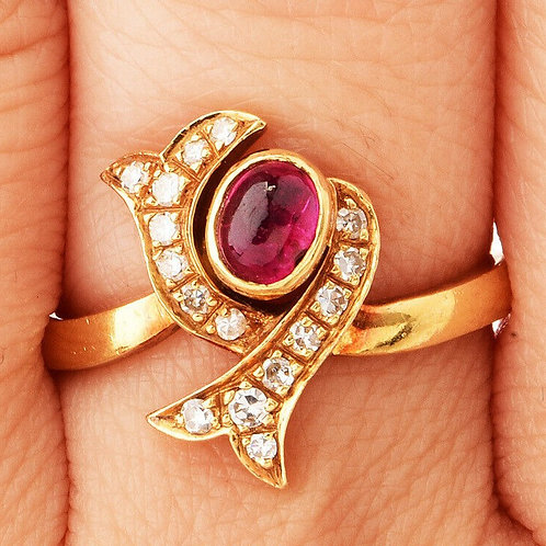 18k Italian Ruby & Diamond Bypass Ring