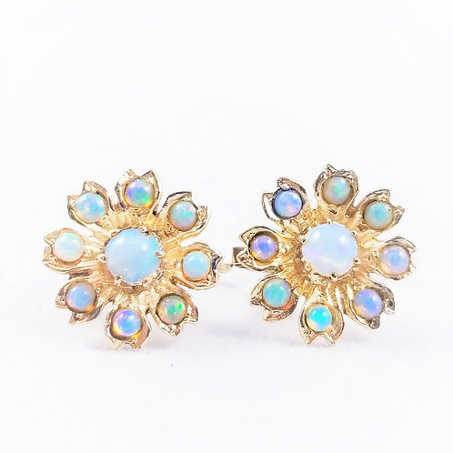 Art Deco 14k Natural Opal Cluster Earrings