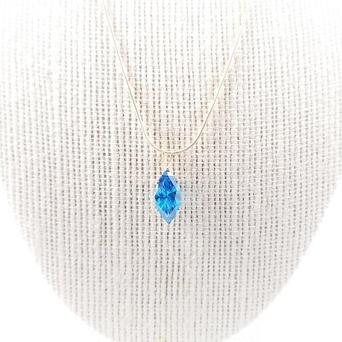 14k Lab Created Blue Topaz Marquise Necklace