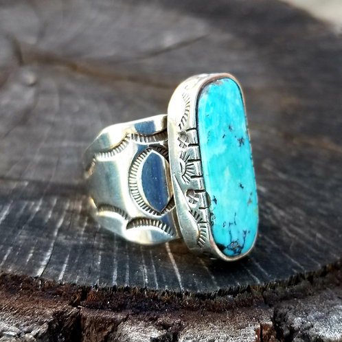 Vintage Sterling Silver & Turquoise Gent's Ring