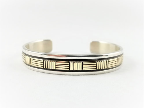 Hand Crafted Navajo Sterling Silver / 14k Wrist Cuff