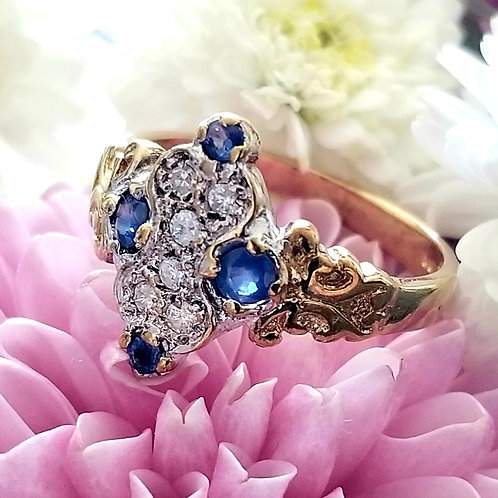 9k Vintage Sapphire & Diamond Ring