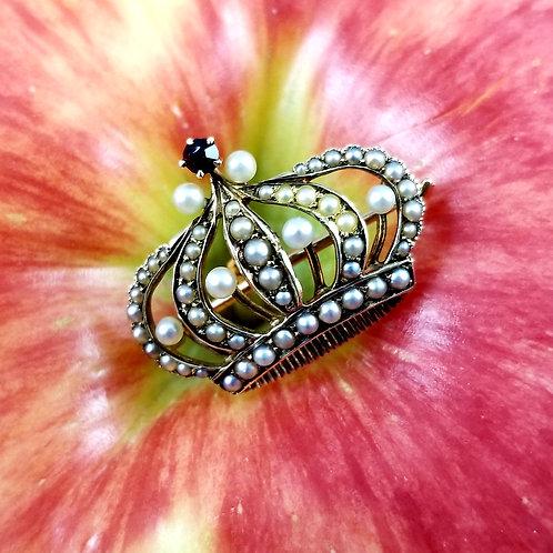 14k Seed Pearl and Garnet Crown Brooch