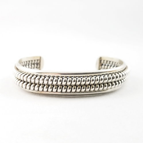 Hand Crafted Double Spiral Sterling Cuff