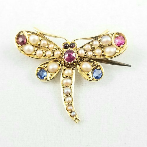 Victorian 15k Multi Gemstone Dragonfly Pin