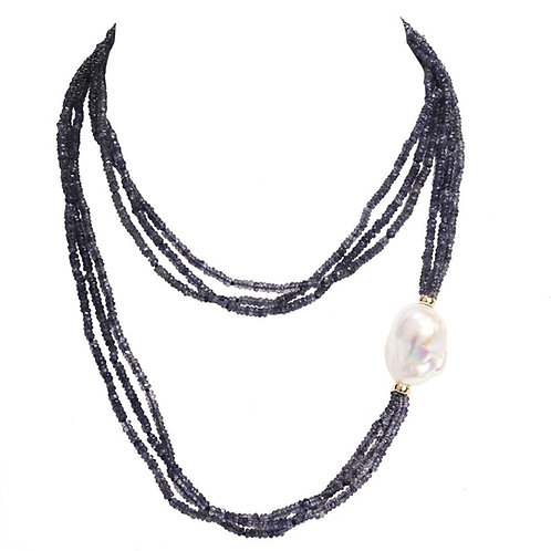 14k Iolite & Baroque Pearl Triple Strand Necklace