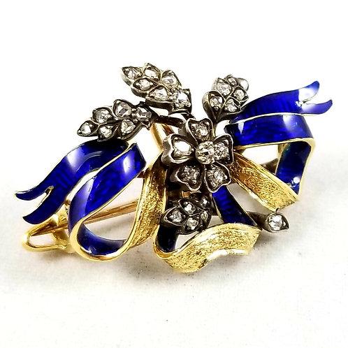 Art Nouveau 18k, Silver & Diamond Plique A Jour Enamel Pendant / Brooch