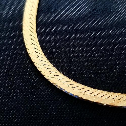 "Vintage Double Pattern 18k Herringbone 30"" Chain"