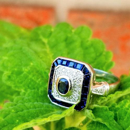 18k Deco Style Sapphire & Diamond Ring