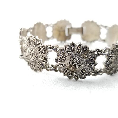 1930's Sterling Silver Marcasite Flower Link Bracelet