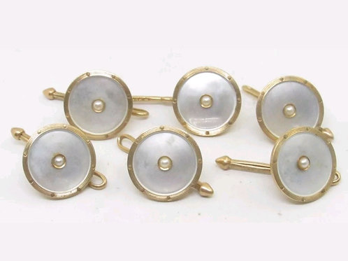 RARE 14k Antique Mother of Pearl Tuxedo Stud Set SOLD