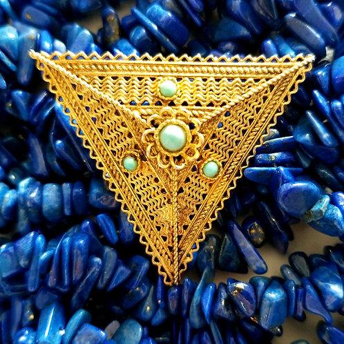 Vintage Turquoise Brooch from Jerusalem