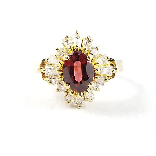 Sterling Silver Gold Plate Red & Clear CZ Ballerina Ring