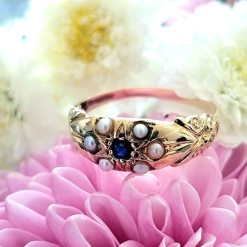 9k English Antique Style Sapphire & Seed Pearl Ring