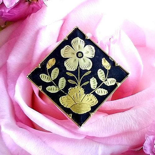 Damascene Floral Brooch