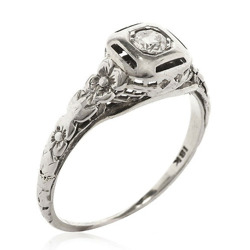18k Art Deco Orange Blossom Diamond Ring